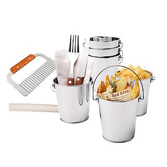 8pcs French Fries Serving Set Include Buckets,chips Cutter