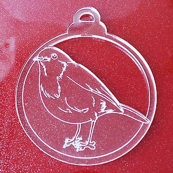 6 Pk Робин Красная грудь Птица Прозрачные акриловые рождественские украшения