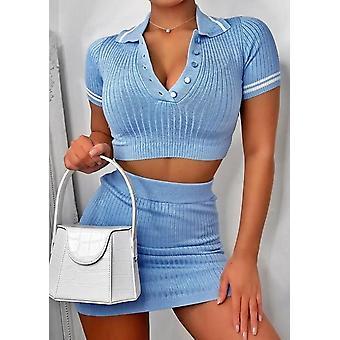 Acanalado Crop Polo Estilo Top Mini Falda Co ord Set Azul