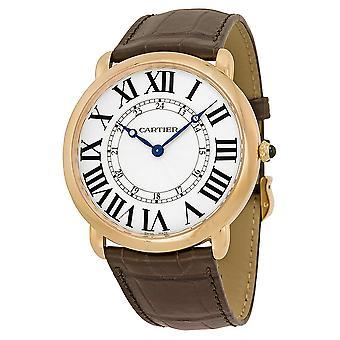 Cartier Ronde Louis Cartier 18kt Rose Gold Silvered Flinque Dial Men's Watch W6801004