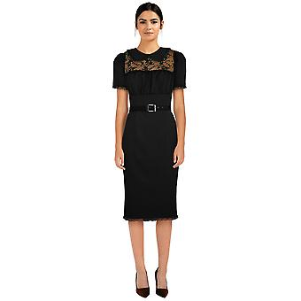 Chique ster plus size kant potlood jurk in zwart