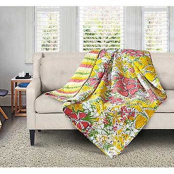 Spura Home Tropical Francesca Yellow/Gray Transitional Quilted Sherpa Throw