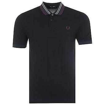 Fred Perry Stripe Collar Polo Shirt - Navy