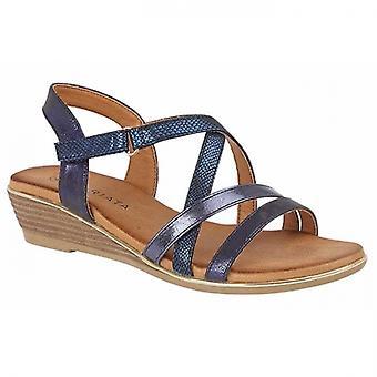 Cipriata Alessia Ladies Crossover Wedge Sandals Bleu