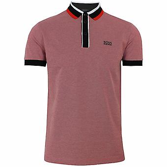 Hugo boss athleisure paddy 2 men's red polo shirt