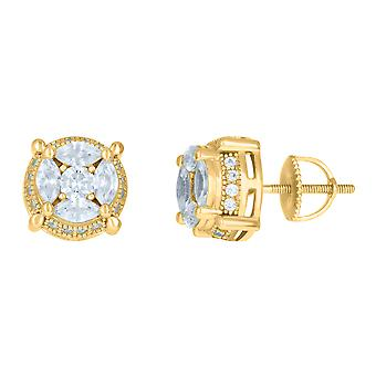 925 Sterling Silver Yellow tone Mens Marquise Cubic zirconia Fashion Stud Earrings Jewelry Gifts for Men