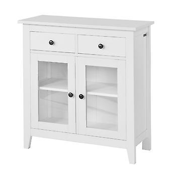 SoBuy Küche Aufbewahrungsschrank 2 Schubladen und 2 Türen, FSB05-W