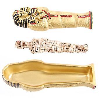 Gold ägyptische Tutanchamun Sarkophag Trinket Box mit Mumie