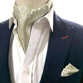 Sage vihreä paisley cravat & tasku neliösetti