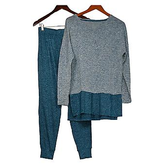 Cuddl Duds Women's Sweater Knit Color Block Pajama Set Gray A310299