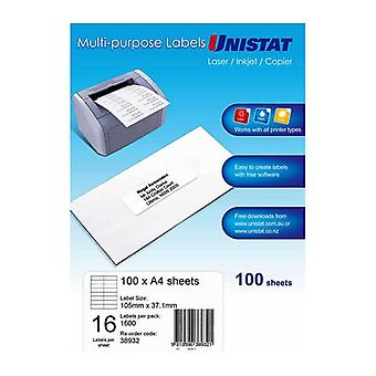 Unistat Lip Label 16Up 105 By 37 Box Of 100