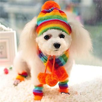Winter Pet Knitted Striped Hats Scarf Socks