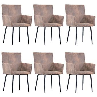 vidaXL dining chairs with armrests 6 pcs. brown suede look