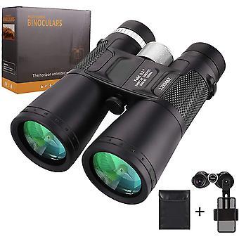 Binoculars adult 12X50, binoculars with compact for birds, camping, hiking. Binoculars HD waterproof with bag and mobile phone camera stand, BAK4 prism, SMC coatings,(black)