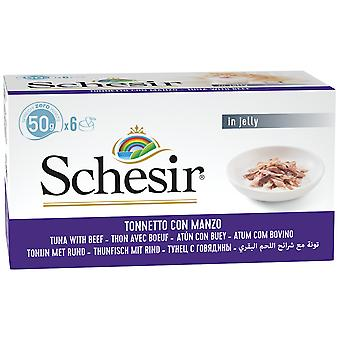 Schesir Tuna With Ox Fillets Multipack 6pcs (Cats , Cat Food , Wet Food)