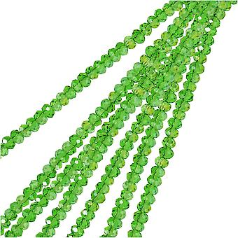 Crystal Beads, Faceted Rondelle 1.5x2.5mm, 2 Strands, Transparent Green AB
