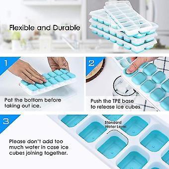 4pcs Tray Of 14 Bpa Free Silicone Ice Cubes, Mold For Party, Whiskey, Cocktail, Cold Drink