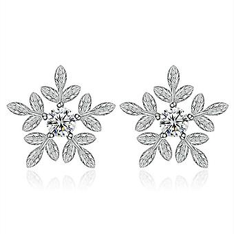 3PCS Ladies Sweet and Lovely Flowers Leaves Stud Earrings Snow Ear Jewelry Fashion Silver plating