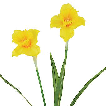 60cm Yellow Double Fabric Daffodils - Artificial Silk Flowers