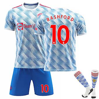 RASHFORD #10 Jersey 2021-2022 Säsong Manchester Fotboll T-Shirts Jersey Set för Kids Youths