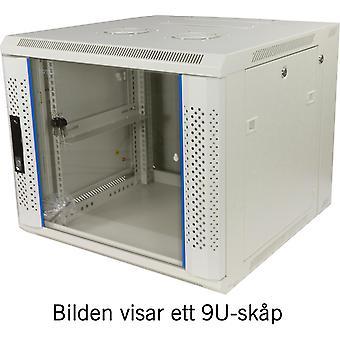 """TOTEN System Z, 19"""" väggskåp, 9U, 600x600, glasdörr, vit"""