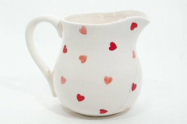 Ceramic White Jug With Red Hearts