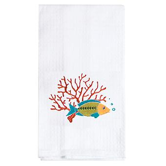 Tropical Fish Swimming in Coral Embroidered Waffle Weave Kitchen Dish Towel