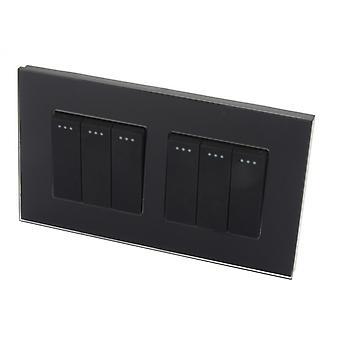 Jeg LumoS luksus Crystal svart doble Glass ramme 6 gjengen 2 måte Rocker veggen lys brytere