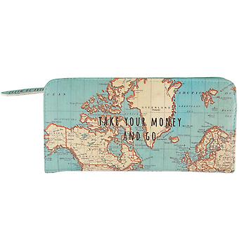 Sass & Belle Vintage Map Take Your Money & Go Wallet