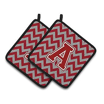 Carolines Treasures  CJ1049-PTHD-Parent Letter Chevron Maroon and White Pair of