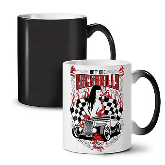 Hot Girl Rock Race Car NEW Black Colour Changing Tea Coffee Ceramic Mug 11 oz | Wellcoda