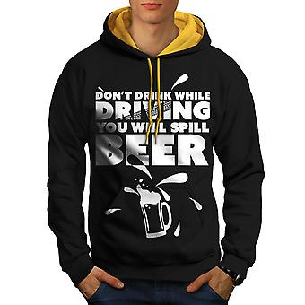 Drink Drive Sarcasm Men Black (Gold Hood)Contrast Hoodie | Wellcoda