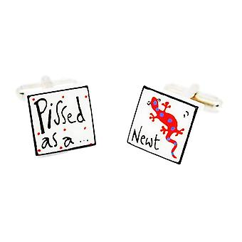 Red P***ed as a Newt Cufflinks by Sonia Spencer, in Presentation Gift Box. Hand painted