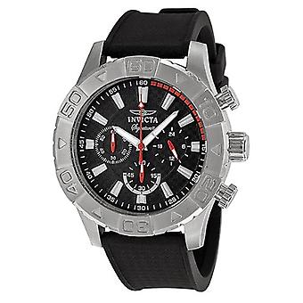 Invicta Signature Chronograph Black Dial Black Polyurethane Mens Watch 7490
