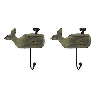 Distressed Wood Look 2 Piece Spouting Whale Wall Hook Set