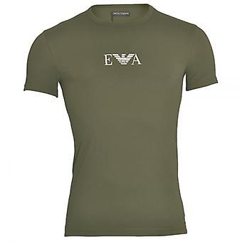 Emporio Armani farbigen Baumwoll-Stretch Logo Rundhals T-Shirt, Militär, X-Large