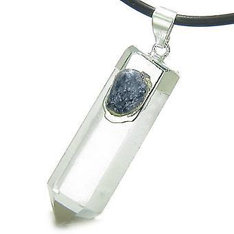 Double Lucky Individual Amulet Crystal Point Rock Quartz Sodalite Gemstones Pendant Necklace