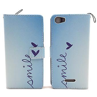 Mobile phone affaire pochette pour mobile WIKO fièvre 4 G logo sourire Blau