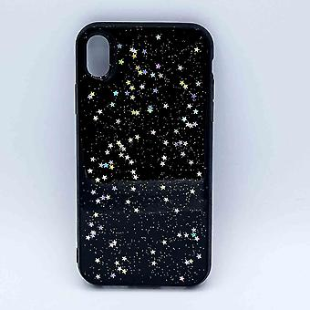 iPhone XR case-transparent-black with glitter