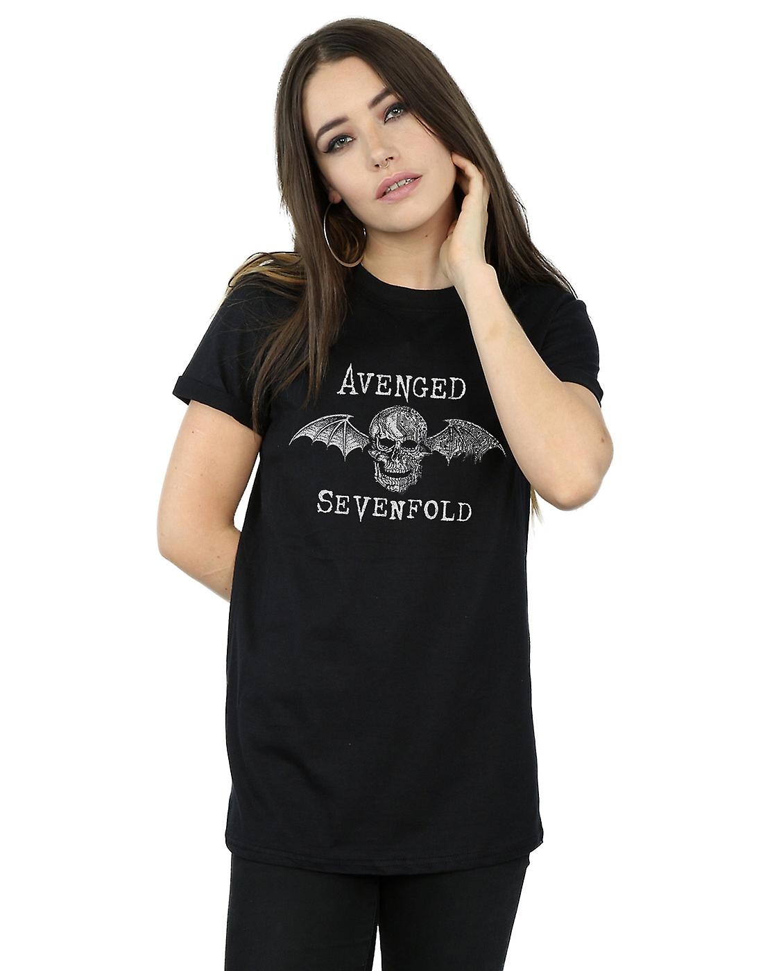 Avenged Sevenfold Women's Cyborg Deathbat Boyfriend Fit T-Shirt