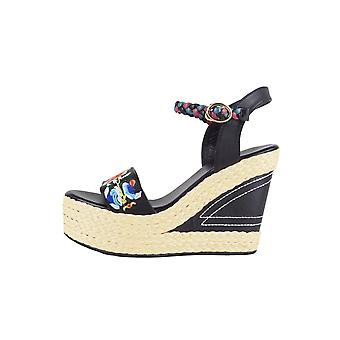 LMS Woven Heel Wedges In Black With Floral Embroidery