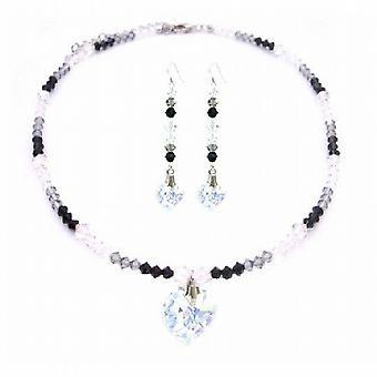الإغراء مثير الألوان الثلاثة Jet AB & قلادة القلب بلورات الماس الأسود