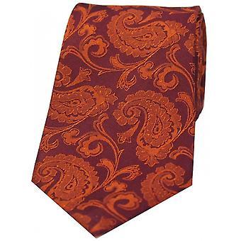 David Van Hagen Luxus Paisley Krawatte - Rostorange