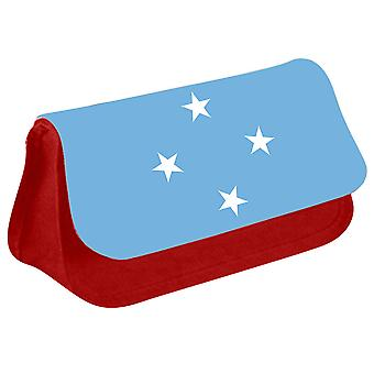 Macronesia Flag Printed Design Pencil Case for Stationary/Cosmetic - 0113 (Red) by i-Tronixs