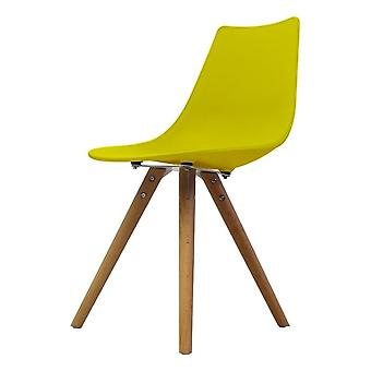 Fusion Living Iconic Lime Plastic Dining Chair With Light Wood Legs