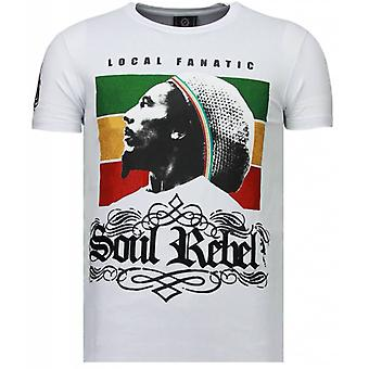 Soul Rebel Bob - Rhinestone T-shirt - Wit