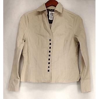 OSO Casuals Long Sleeves Snap Front Beige Top Womens