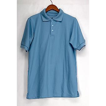 A & B Uniform Top Men's Pique Knit Polo Shirt Light Blue