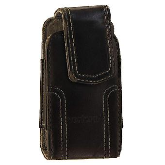 Verizon Universal Leather Pouch Case with Clip for Exalt II and etc. - Black