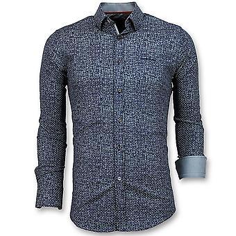 Slim Fit Shirt Men-Grundge Texture men-3024-Navy